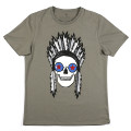 SansRival - t-shirt - indian skull - color olive