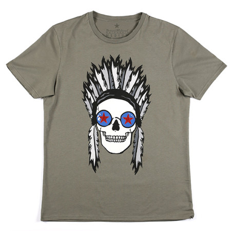 SansRival - t-shirt - indian skull - color olive