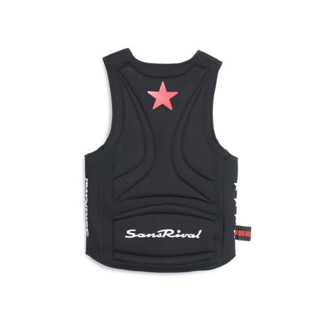 SansRival - PRO Neoprene Vest - watersport - waterski - color black - back - red star