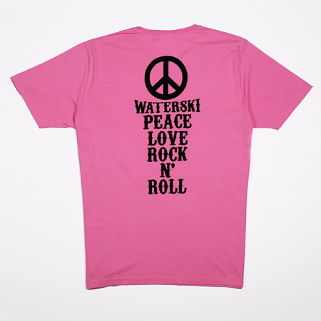 SansRival - t-shirt - peace - waterski - love - rock n'roll - color pink - back