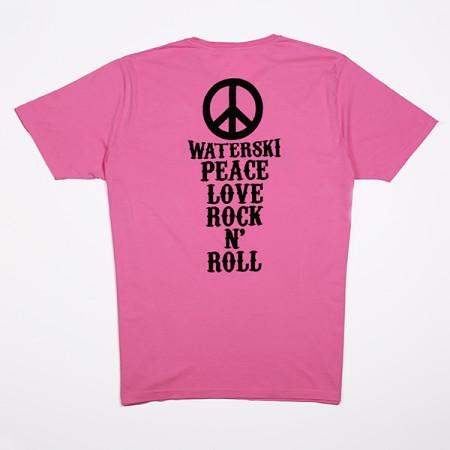 SansRival - t-shirt - peace - waterski - love - rock n'roll - color pink - back