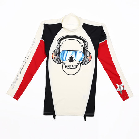 SansRival - lycra shirt - long sleeve - front skull - color red white black