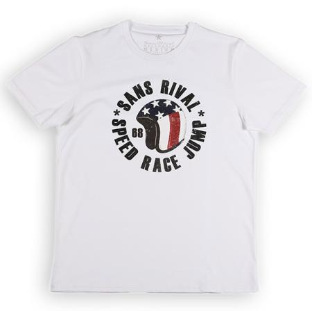 SansRival - t-shirt - helmet - speed race jump - color white