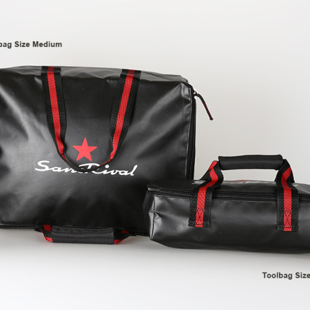 SansRival - toolbag - size small medium - watersport - accessory - color black red - red star