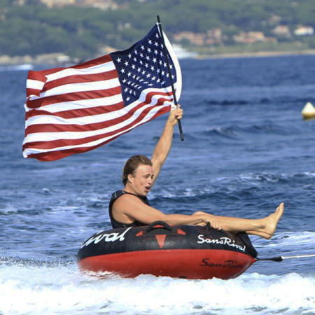 SansRival - water sports - tube - color black red - American flag